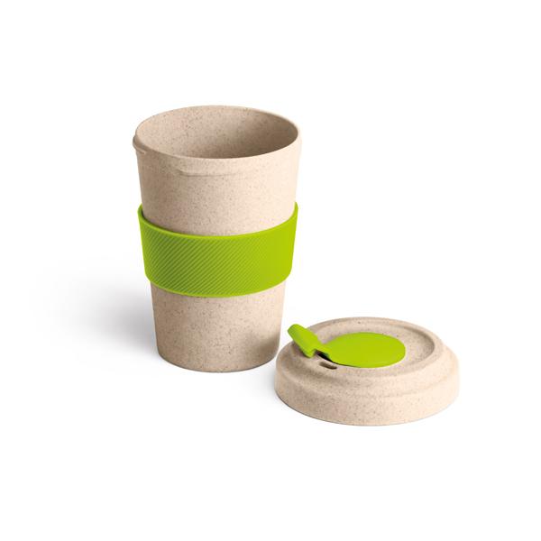 Copo em fibra de bambu e PP com banda e tampa de silicone