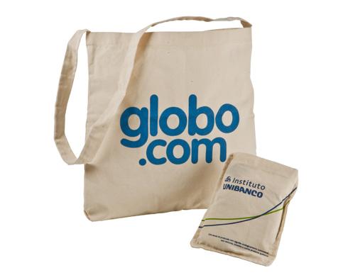 eco bag confeccionada em material 100% algodão, alça transversal