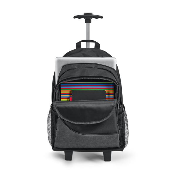 Mochila com carrinho para notebook confeccionada em nylon 300D