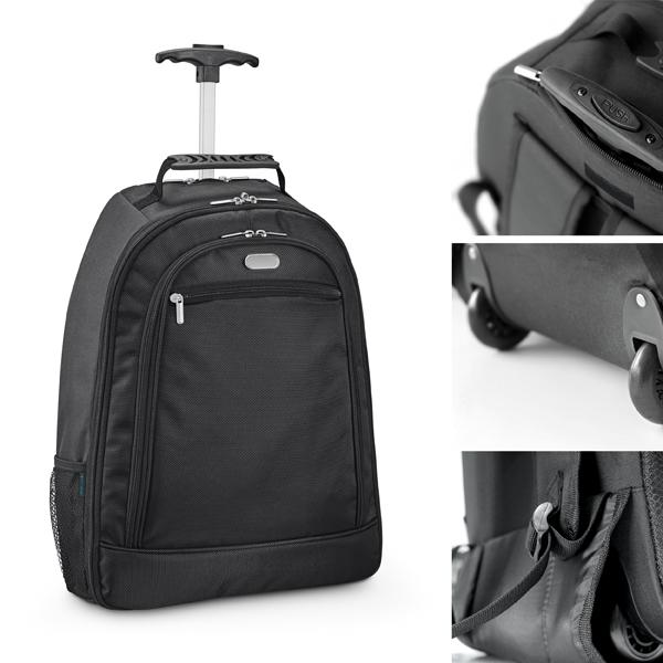 Mochila com carrinho para notebook em nylon 1680D e poliester 300D com 2 rodas