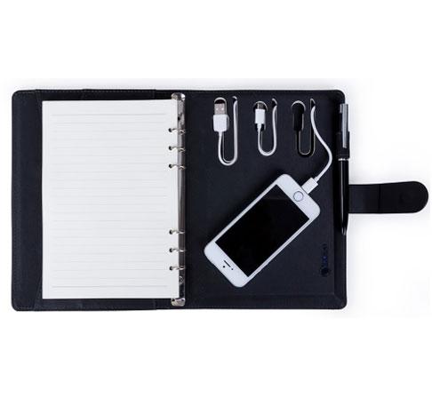 Caderno estilo fichário com carregador power bank