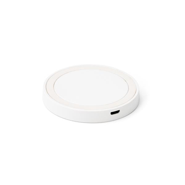 Carregador wireless fast produzido em ABS e silicone Branco