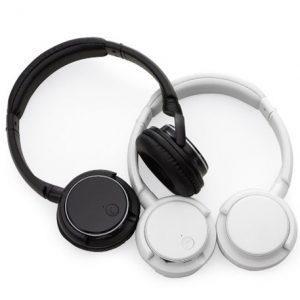 Fone de ouvido Bluetooth com haste ajustável e fones giratórios